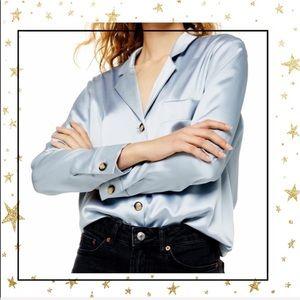 Topshop Satin PJ Style  Button up Blue shirt (C6)